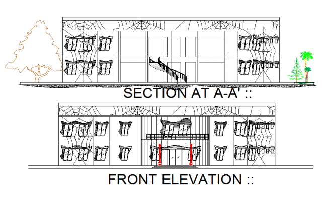 Web detailed sectional elevation of building