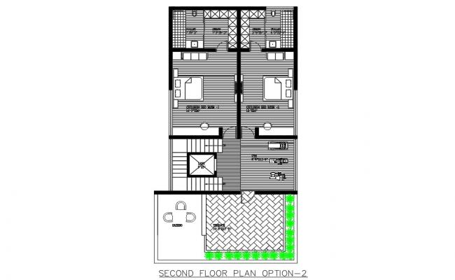 Well Presentable Architectural Second Floor Plan DWG File