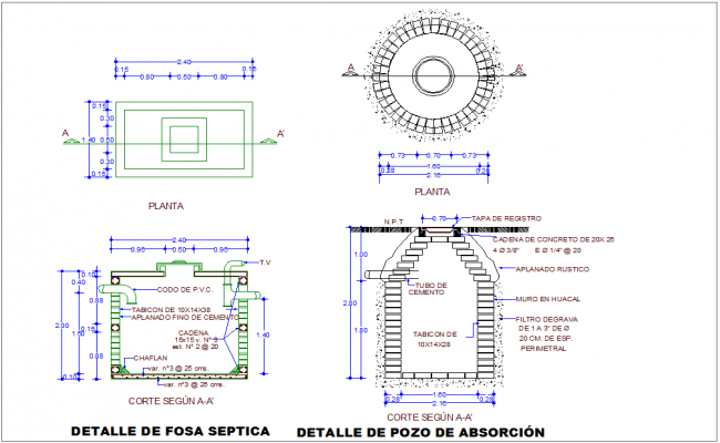 Well and tank plan and elevation with construction view for municipal agency dwg file