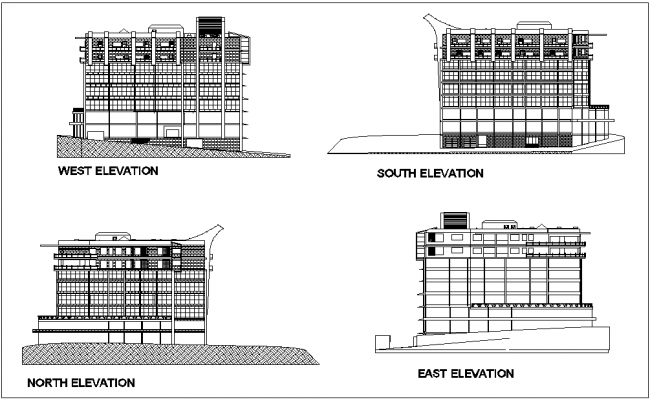 West,south,north and east elevation of mixed used building with architectural view dwg file