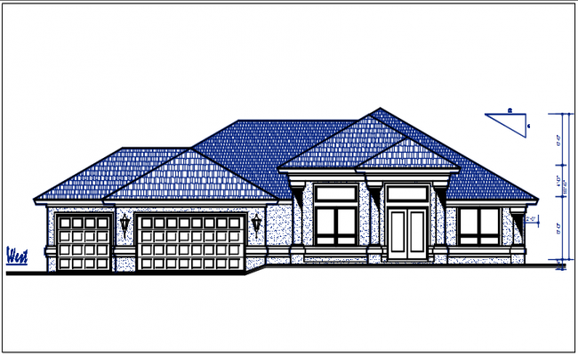 West Elevation view of bungalow detail dwg file