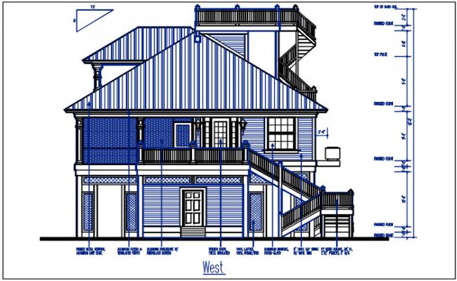 West direction elevation detail dwg file