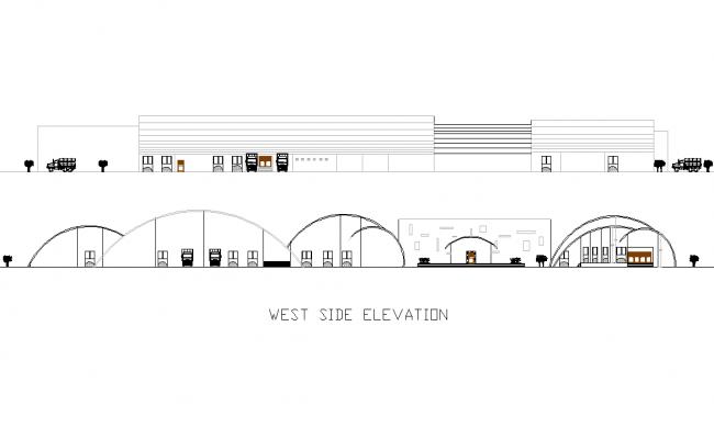 West elevation Industrial plan detail dwg file