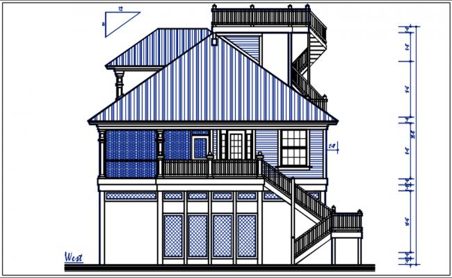 West elevation detail dwg file