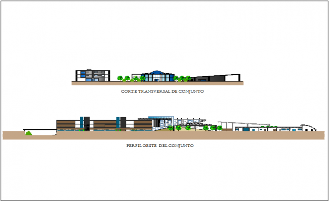 West view of the set with section view for industrial plant area dwg file