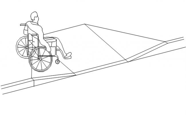 Wheel chair detail dwg file