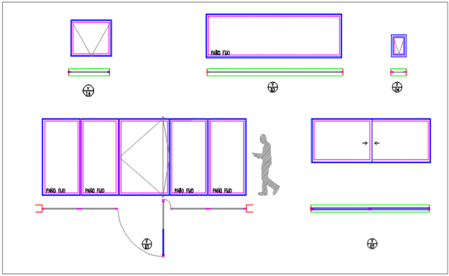 Window, vent and door elevation detail dwg file