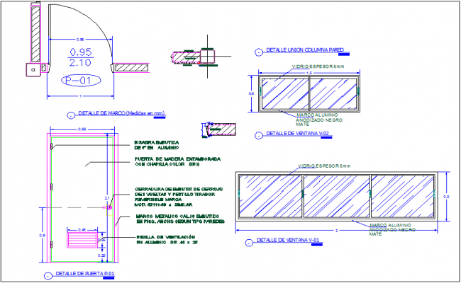 Window and door design with detail view and dimension