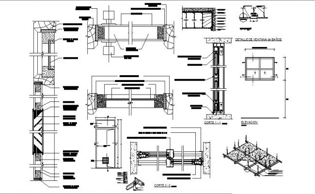 Window and door elevation and installation cad drawing details dwg file