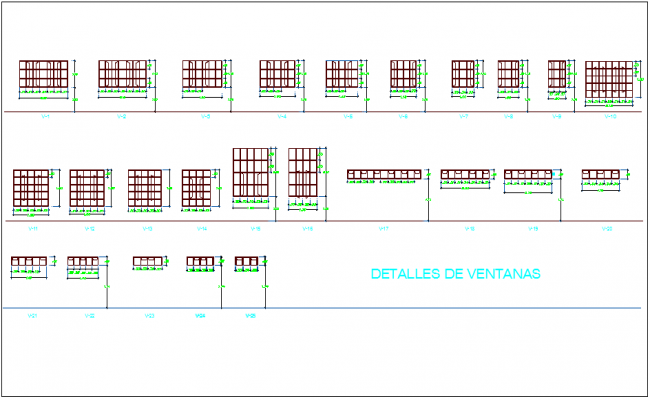 Window design and detail view dwg file