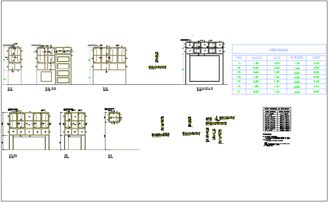 Window design and detail view for school  dwg file