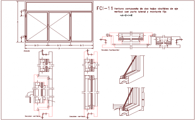 Window design composed of two pivoting axle blades, sectional view dwg file