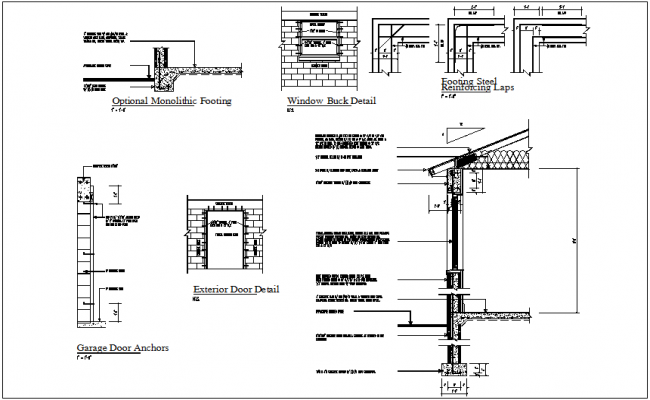 Window Detail View With Construction Detail Dwg File