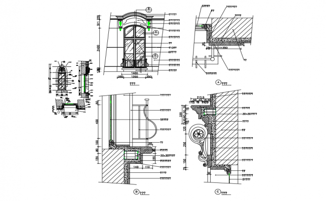 Window elevation with section view and detail of window view dwg file