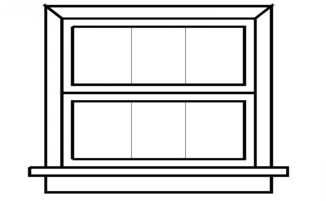 Window frame structure detail 2d view layout auto cad file