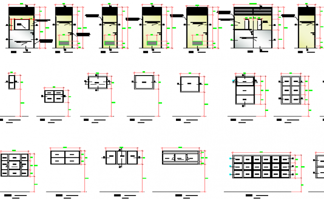 Window installation architecture project details dwg file
