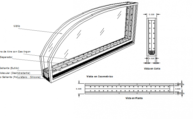 Window interior and installation details dwg file