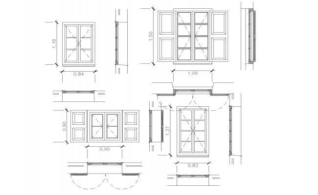 Window plan detail dwg file.