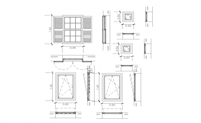 Window plan with detailed dwg file.