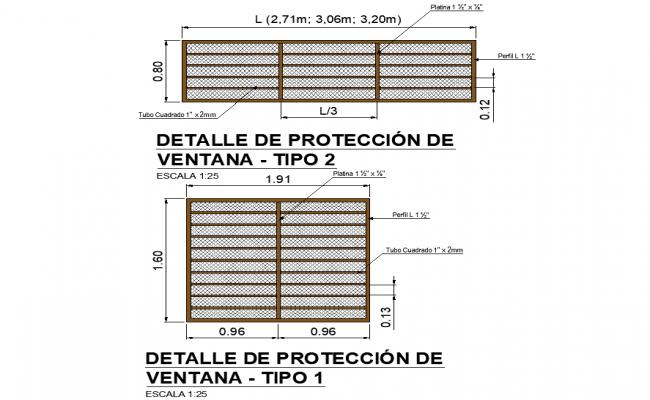 Window projection detail dwg file