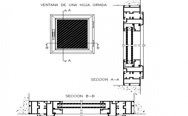 Window rotated leaf section and plan detail dwg file