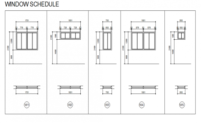 Window schedule plan and section autocad file