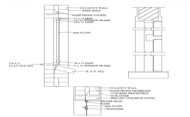 Window sill detail structure 2d view layout file