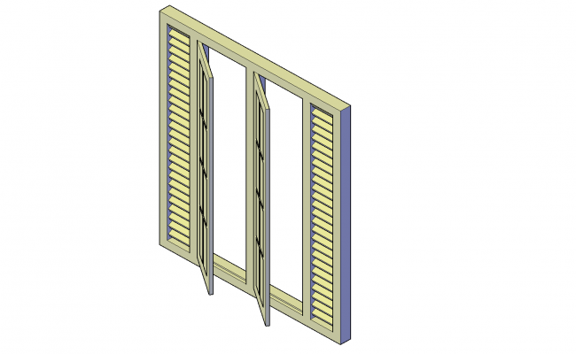 Window with louver plan detail dwg file.