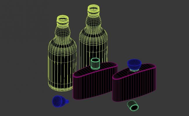 Wine And Whisky Bottle 3D MAX File Free