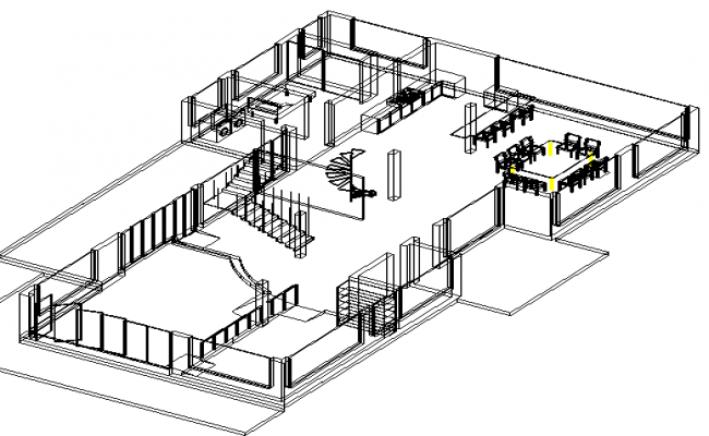 Wireframe 3d detailing of house
