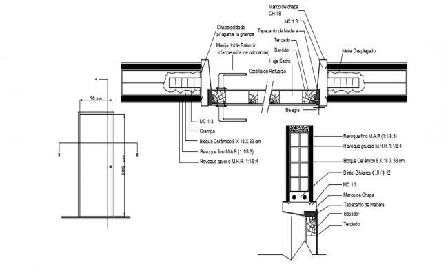 Wood Door Frame Detail In DWG File