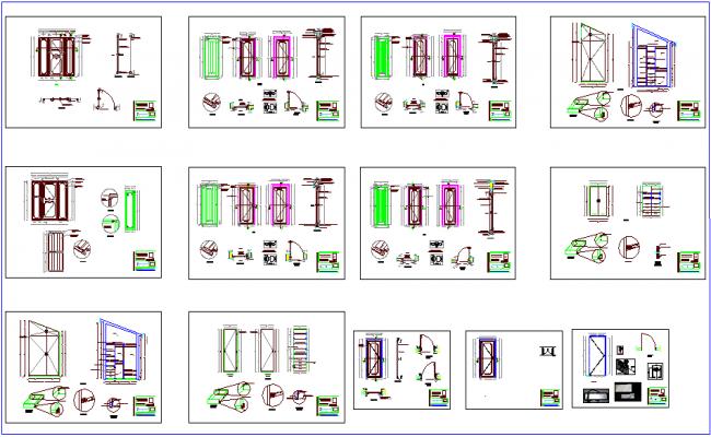 Wood framing door different types of design view dwg file