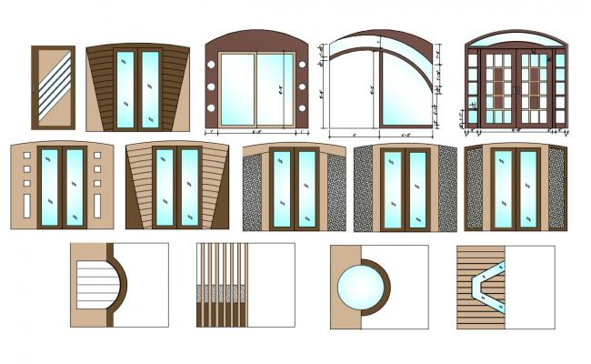 Wooden And Glass Made Door And Window Design DWG File