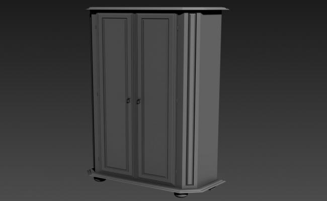 Wooden Double Door Wardrobe Design 3d Furniture Model Max file