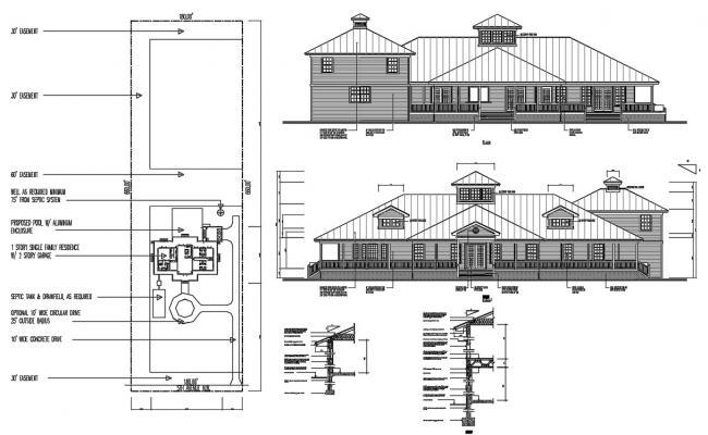 Wooden House Elevation Design AutoCAD File
