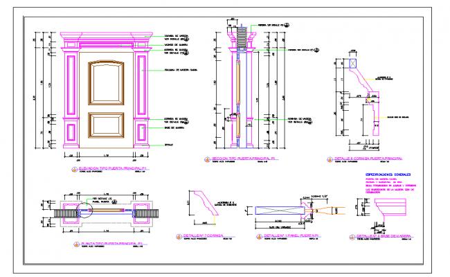 Wooden Main Door Detail Drawing Dwg File