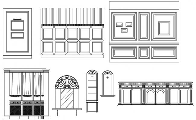 Wooden and Glass Partition Wall Design 2d CAD Drawing Free Download