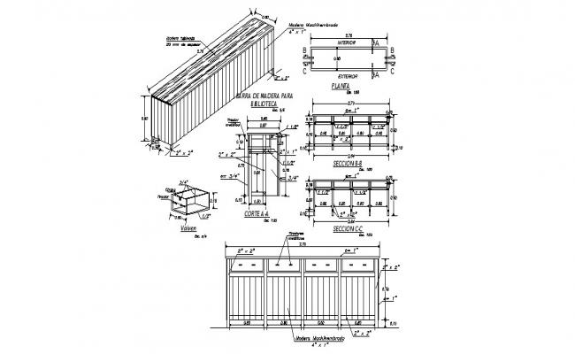 Wooden bar table for library-elevation, section, plan and auto-cad details dwg file