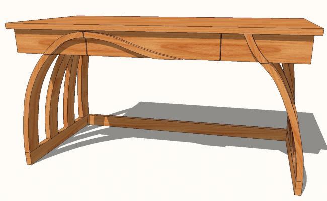 Wooden bent leg desk side elevation 3d block skp file