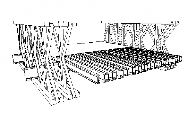 Wooden bridge of garden architecture project dwg file