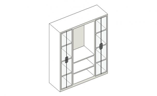 Wooden cabinet 3d block cad drawing details dwg file