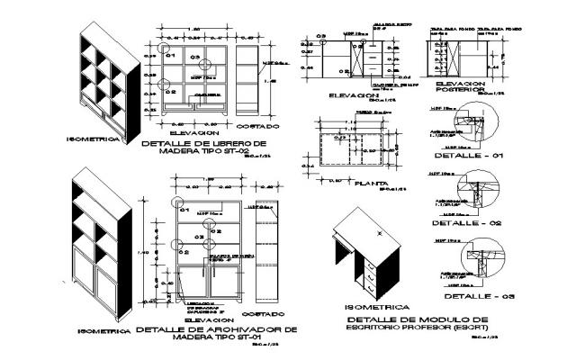 Wooden cabinet multiple drawer elevation, section, plan and furniture details dwg file