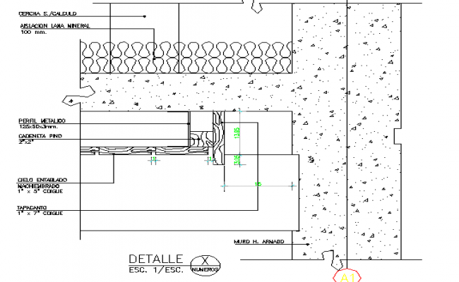 Wooden ceiling finishing details dwg file