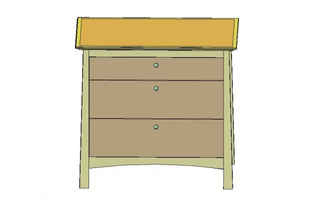 Wooden chest 3d elevation block cad drawing details dwg file