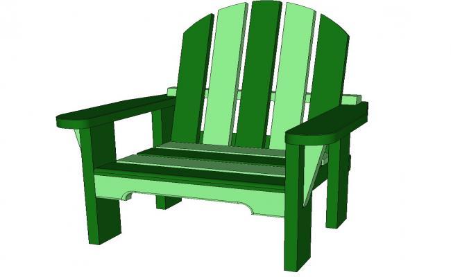Wooden children chair front 3d elevation cad block details skp file