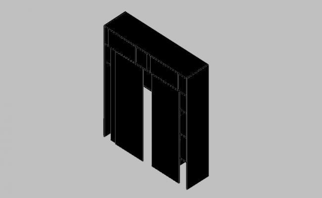 Wooden closet 3d drawing details skp file
