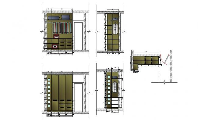 Wooden closet wardrobe elevation, plan and auto-cad details dwg file