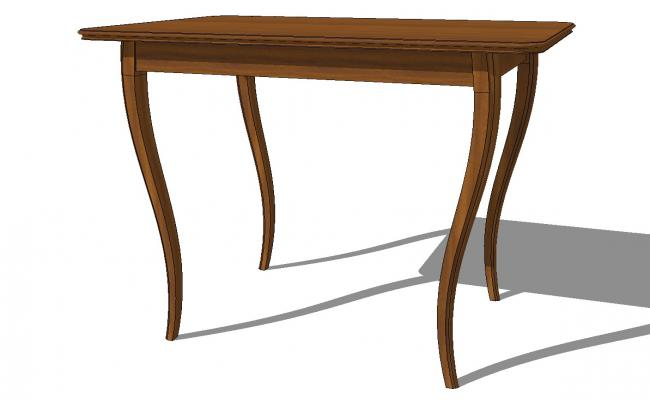 Wooden curved leg table 3d block cad drawing details skp file