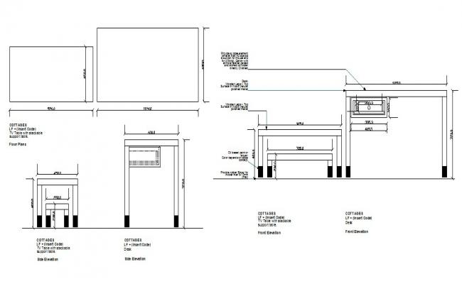 Wooden desk section and plan cad drawing details dwg file