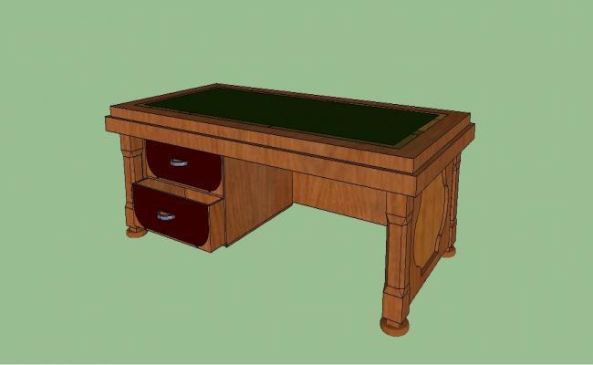 Wooden desk with drawers 3d elevation block details skp file